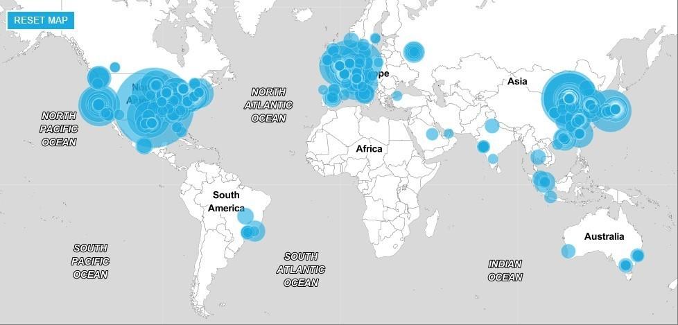 (خريطة توضح تمركز أكبر 500 شركة عالمية وسيطرة الولايات المتحدة وأوروبا والصين على هذه المراكز)