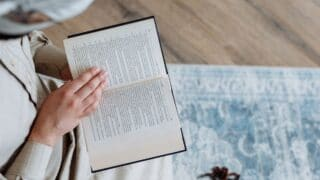 A man reading book page