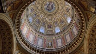 the roof design of a catholic church