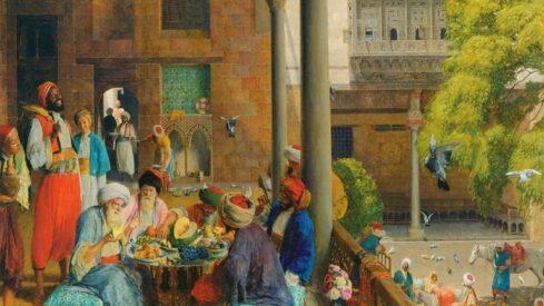 لوحة مجلس من مجالس العرب قديما